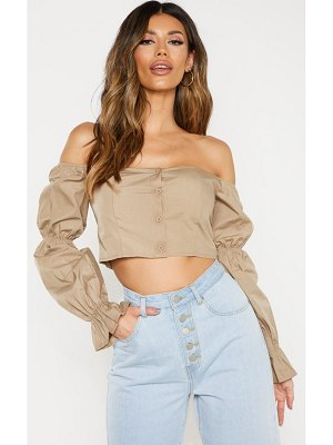 PrettyLittleThing button front bardot puff long sleeve crop top