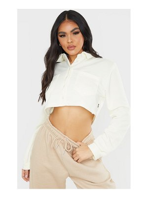 PrettyLittleThing button front crop polo shirt
