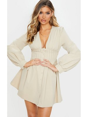 PrettyLittleThing button front fitted puff sleeve skater dress