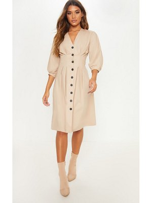 PrettyLittleThing button front midi pleated waist dress