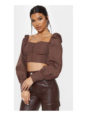PrettyLittleThing button front puff sleeve top