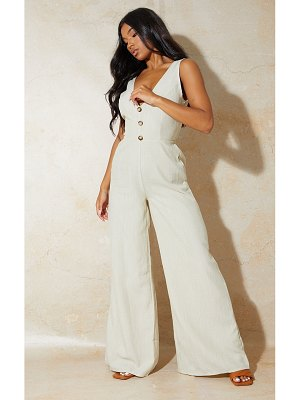 PrettyLittleThing button front tie back jumpsuit