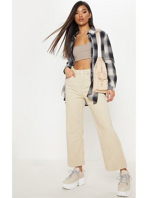 PrettyLittleThing button through wide leg cropped jeans