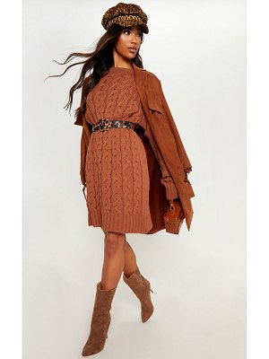 PrettyLittleThing cable detail knitted jumper dress