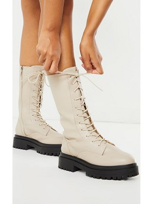 PrettyLittleThing calf high lace up chunky biker boots