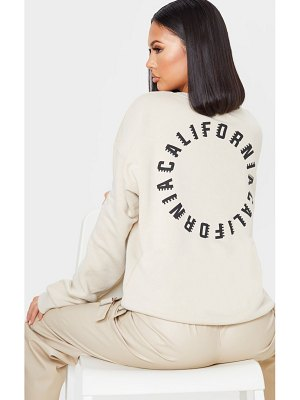 PrettyLittleThing california oversized slogan sweater