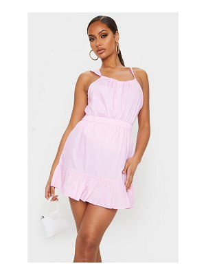 PrettyLittleThing candy pink cotton poplin peplum hem mini skirt