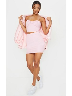 PrettyLittleThing candy pink crinkle rib mini skirt