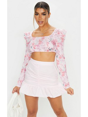 PrettyLittleThing woven ruched frill hem mini skirt