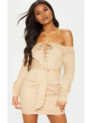 PrettyLittleThing cargo bardot lace up bodycon dress