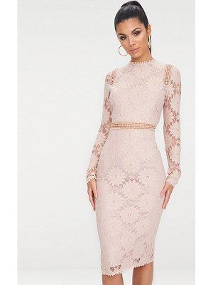 PrettyLittleThing caris dusty pink long sleeve lace bodycon dress