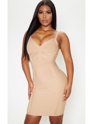 PrettyLittleThing champagne bandage panelled bodycon dress