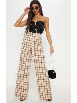 PrettyLittleThing check belted waist printed wide leg pants