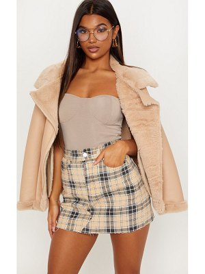 PrettyLittleThing check denim skirt