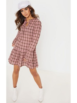 PrettyLittleThing check frill hem smock dress