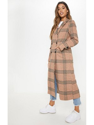 PrettyLittleThing check maxi coat