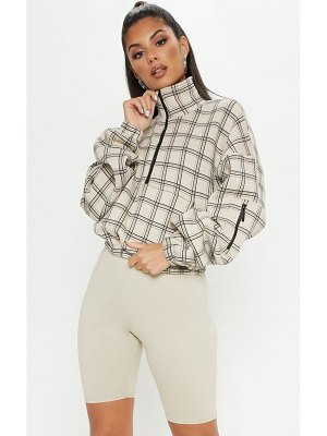 PrettyLittleThing check oversized zip front sweater