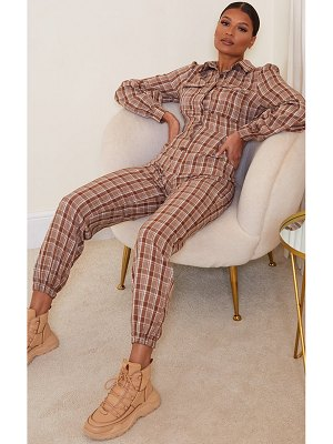 PrettyLittleThing check pocket detail shirt jumpsuit