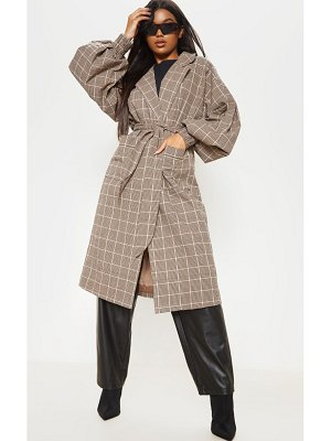 PrettyLittleThing check print balloon sleeve tie waist trench