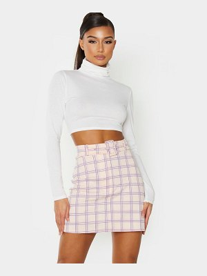 PrettyLittleThing check print belted mini skirt