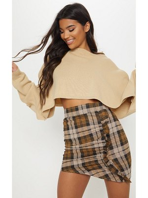 PrettyLittleThing check ruched detail mini skirt