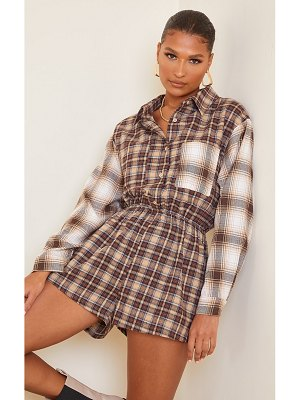 PrettyLittleThing check shirt romper