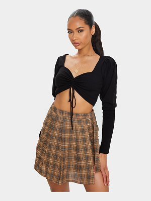 PrettyLittleThing check woven pleated mini skirt