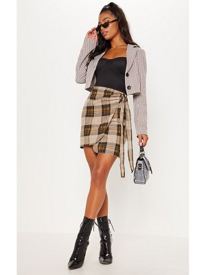 PrettyLittleThing check wrap tie skirt