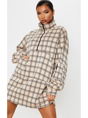 PrettyLittleThing check zip front funnel neck sweater dress