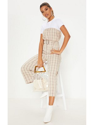 PrettyLittleThing checked belted culotte jumpsuit