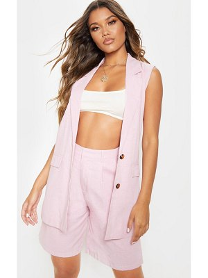 PrettyLittleThing checked oversized sleeveless woven blazer
