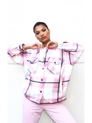 PrettyLittleThing checked pocket front shacket