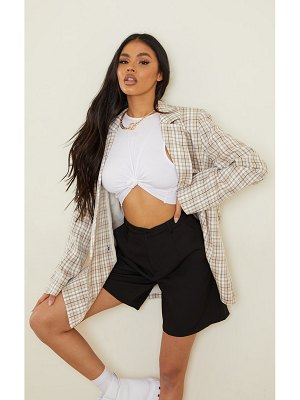 PrettyLittleThing checked woven triple breasted oversized blazer