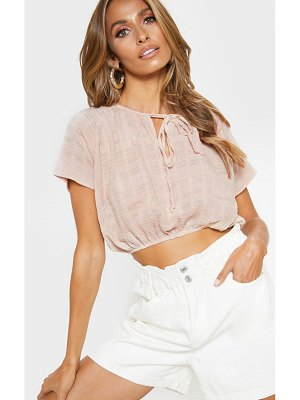 PrettyLittleThing cheesecloth crop tie front top