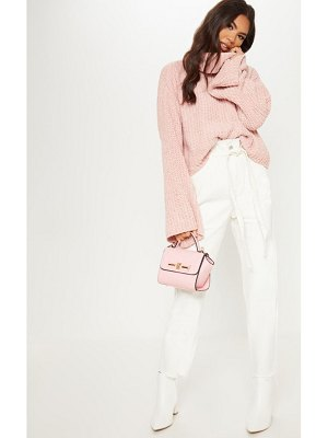PrettyLittleThing chenille cropped high neck knitted sweater