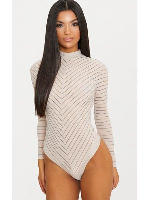 PrettyLittleThing chevron mesh long sleeve thong bodysuit