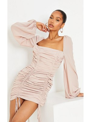 PrettyLittleThing chiffon double ruched bodycon dress