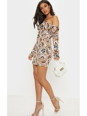 PrettyLittleThing chiffon floral print ruched bodycon dress