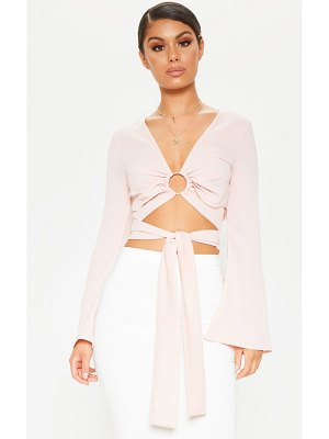 PrettyLittleThing chiffon o-ring long sleeve crop blouse