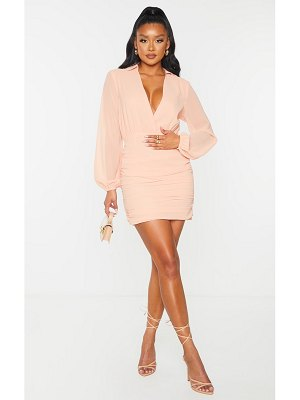 PrettyLittleThing chiffon plunge ruched skirt long sleeve bodycon dress