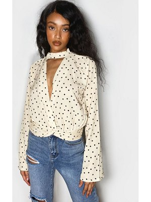 PrettyLittleThing chiffon polka dot choker detail long sleeve blouse