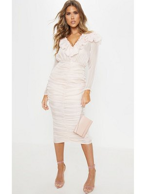 PrettyLittleThing chiffon ruched detail midi dress