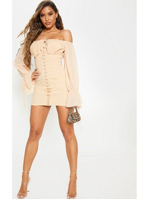 PrettyLittleThing chiffon sleeve hook & eye bodycon dress
