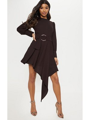 PrettyLittleThing chocolate balloon sleeve belted asymmetric skater dress
