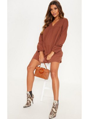 PrettyLittleThing chocolate balloon sleeve smock dress