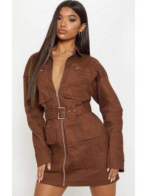 PrettyLittleThing chocolate belted pocket front utility shift dress