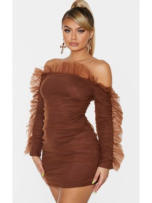 PrettyLittleThing chocolate brown chiffon frill shoulder bodycon dress