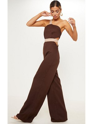 PrettyLittleThing chocolate brown contrast cut out one shoulder wide leg jumpsuit
