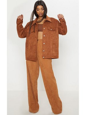PrettyLittleThing chocolate brown faux suede oversized trucker jacket