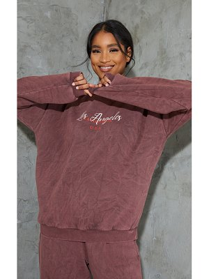 PrettyLittleThing chocolate brown los angeles washed sweater